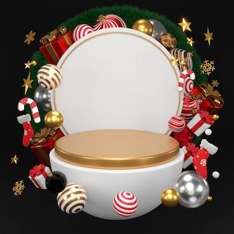 Corona redonda blanca con adornos navideños y de año nuevo. bola de lujo de oro, estrella, representación 3d.