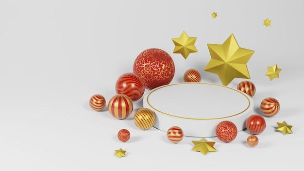 Corona redonda blanca con x'mas y adornos de año nuevo. bola de oro de lujo