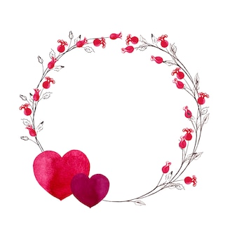 Corona redonda para el día de san valentín de simples mini rosas rojas en tallos con pares de corazones. ilustración acuarela