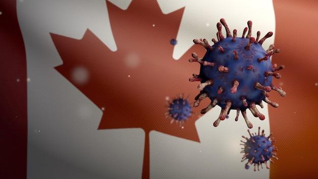 Coronavirus flotando sobre bandera canadiense