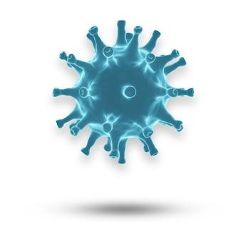 Coronavirus o células covid-19 en el cuerpo humano. virus respiratorio en vista microscópica. ilustración de render 3d.