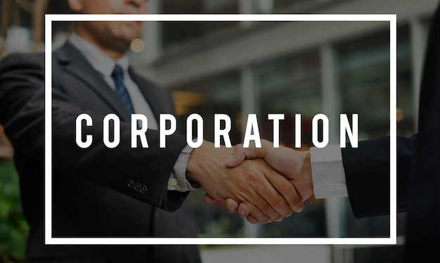 Corporación cooparation collaboration word concept