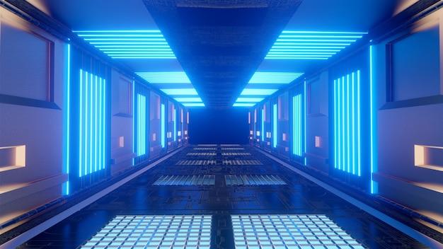 Corredor de ciencia ficción futurista fondo azul papel tapiz pantalla de fondo resplandor de luz