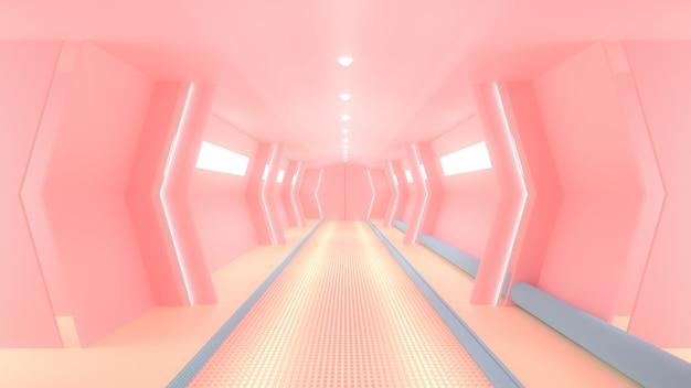 Corredor de ciencia ficción de la nave espacial rosa.