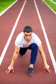 Corredor profesional en la pista