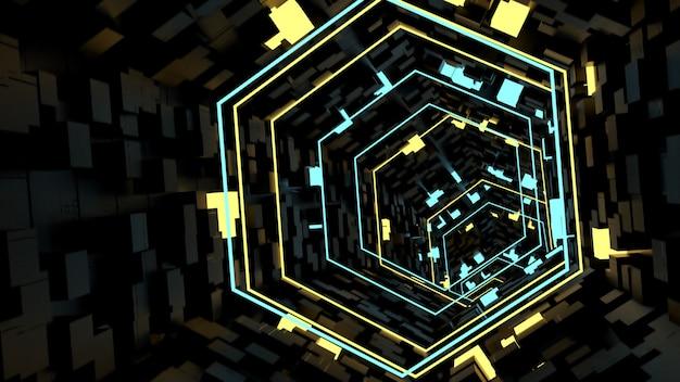 Corriendo en el fondo del túnel de luz de neón en la escena de fiesta retro y de ciencia ficción.