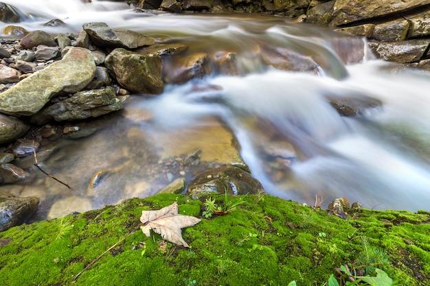 Corriente de río que fluye rápidamente con agua suave y sedosa que cae de grandes piedras en hermosas cascadas en un día soleado de verano.