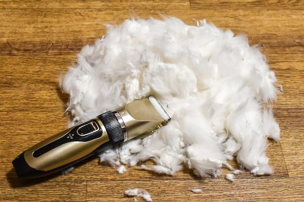 Cortapelos y pelo de perro o gato tirado en el suelo. aseo de mascotas en casa. aseo y cuidado de mascotas