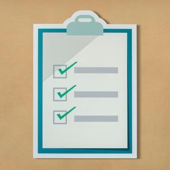 Cortar el icono de lista de verificación de papel