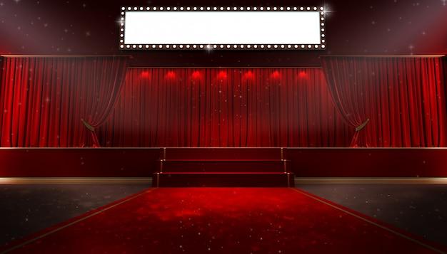 Cortina roja y un foco. cartel del espectáculo nocturno festival