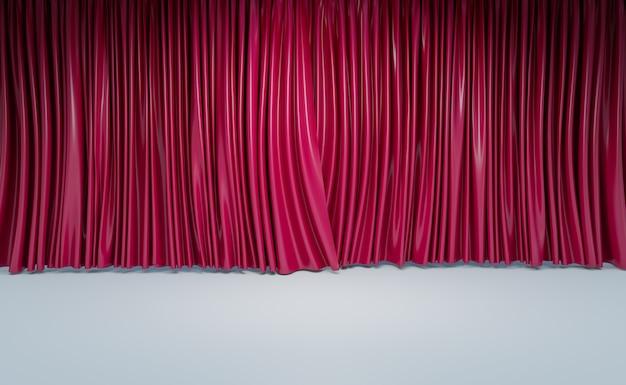 Cortinas de cine o pared de la sala de cine en casa, representación de ilustraciones 3d