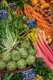 Cosecha de vegetales en el mercado