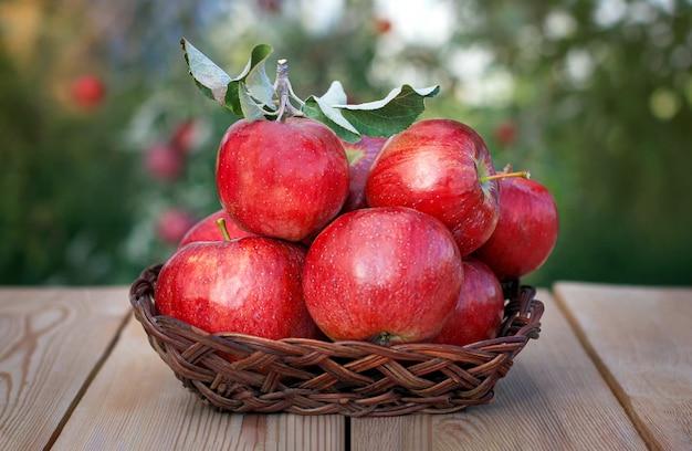 Cosecha de manzanas. manzanas rojas en un jarrón de mimbre sobre una vieja mesa de madera