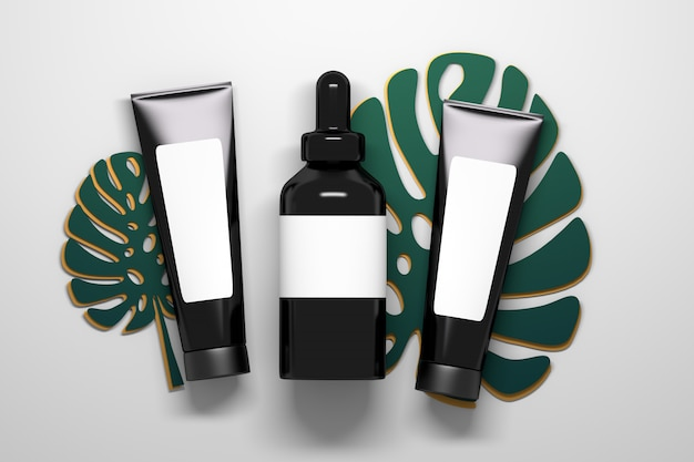 Cosméticos, tubos de color negro brillante y frasco de suero con gotero para líquidos sobre las hojas grandes de la planta de monstera