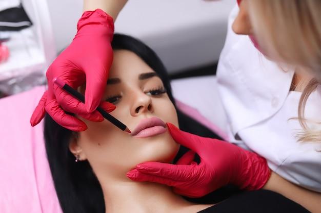 Cosmetóloga haciendo maquillaje permanente en la cara de la mujer