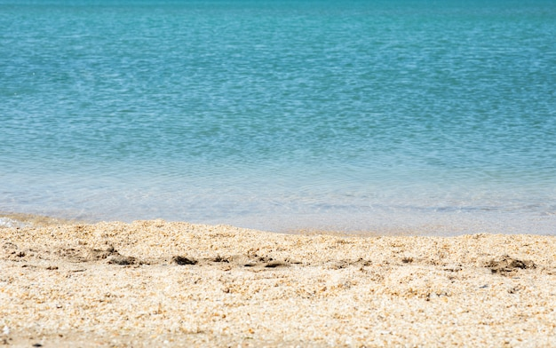 Costa arenosa de un mar u océano azul