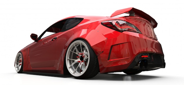 Coupe pequeño coche deportivo rojo sobre fondo blanco.