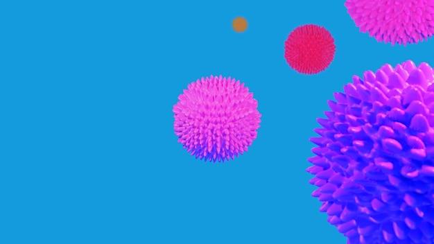 Covid 19 coronavirus resumen color fondo de microscopio de representación 3d