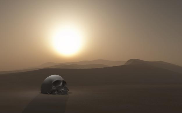 Cráneo 3d enterrado en un desierto contra un cielo al atardecer