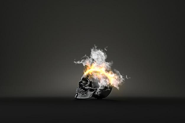 Cráneo ardiendo en llamas en la oscuridad