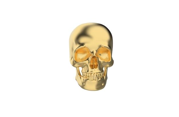 Cráneo humano dorado sobre fondo blanco.
