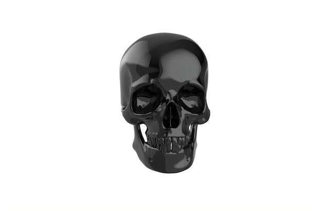 Cráneo humano negro sobre fondo blanco