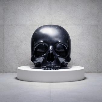 Cráneo negro en una plataforma, render 3d