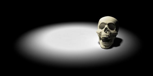 Cráneo en el suelo. apocalipsis y el concepto del infierno. representación 3d