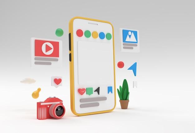 Creative 3d render mobile mockup banner de desarrollo web de redes sociales, material de marketing, presentación, publicidad en línea.