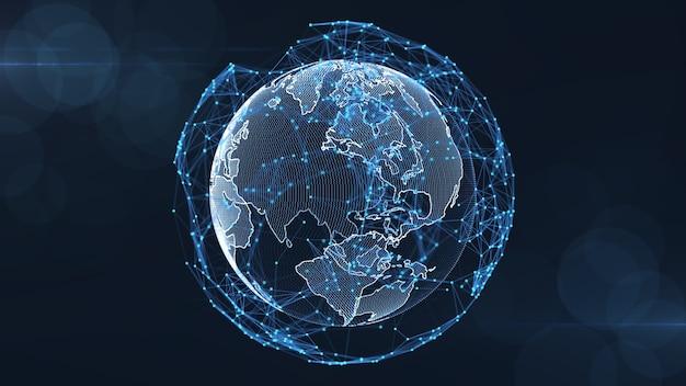 Creciente concepto global de conexiones de datos y redes