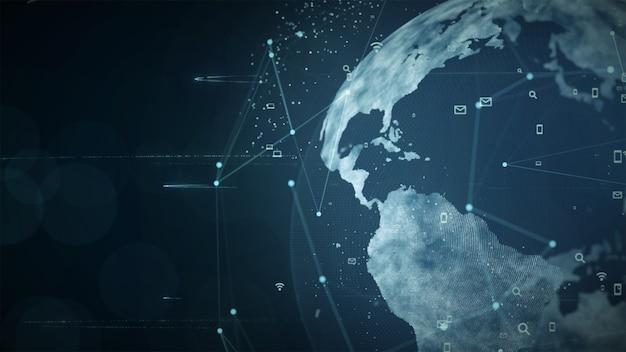 Creciente concepto global de conexiones de datos y redes.