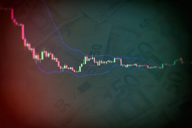 Crecimiento económico, recesión. plataforma virtual electrónica que muestra tendencias y fluctuaciones del mercado de valores, análisis de datos de tablas y gráficos para conocer el resultado.