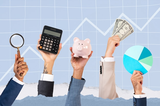 Crecimiento empresarial manos concepto de soluciones de beneficio remix