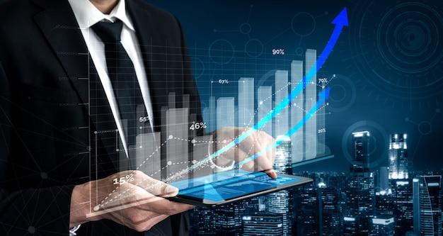 Crecimiento del gráfico de informes de negocios y finanzas