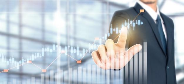 Crecimiento del gráfico del plan del empresario y aumento de los indicadores positivos del gráfico