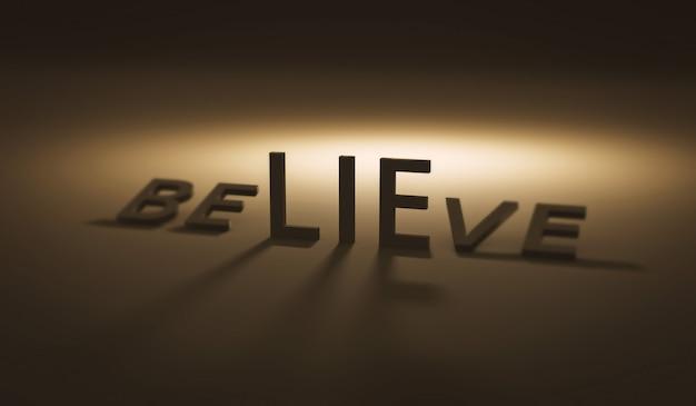 Creer en la mentira en la oscuridad y la creencia. mentiras o confianza. render 3d realista.