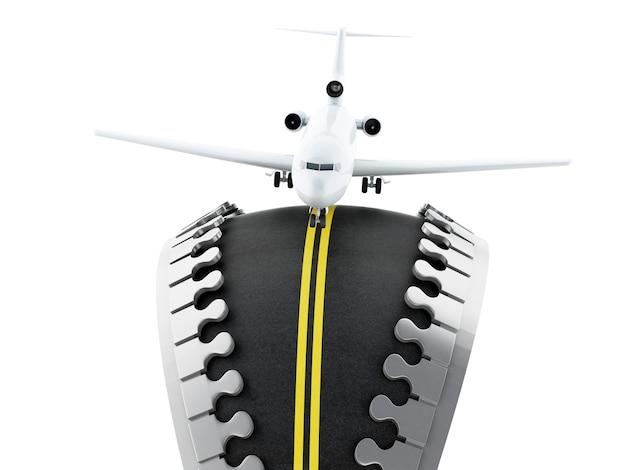 Cremallera 3d abierto con el camino dentro y avión
