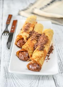 Crepes con crema de chocolate