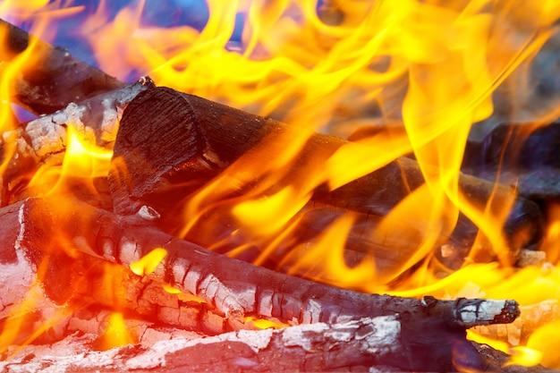 Cresta de fuego en chimenea de leña ardiente