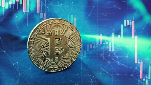 Criptomoneda. crecimiento de acciones de bitcoin. el gráfico muestra un fuerte aumento en el precio de bitcoin.
