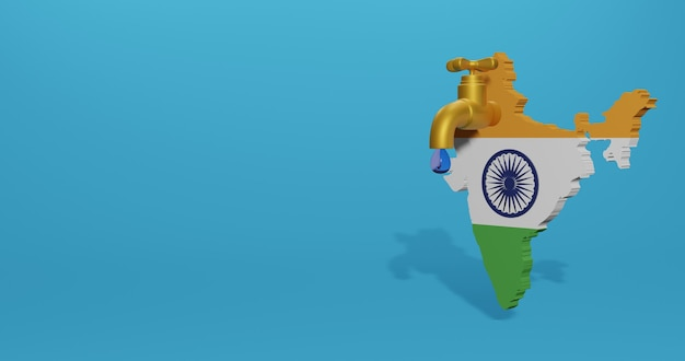 Crisis del agua y estación seca en india para infografías y contenido de redes sociales en renderizado 3d