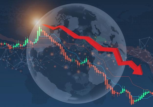 Crisis financiera de los mercados de valores de la economía global del concepto de impacto de coronavirus