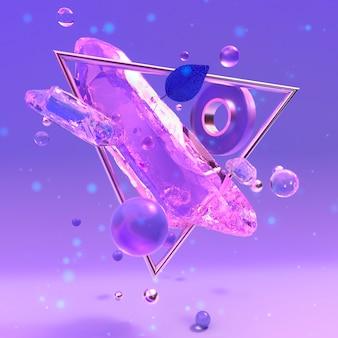 Cristal mágico púrpura cristal abstracto ilustración 3d renderizado 3d