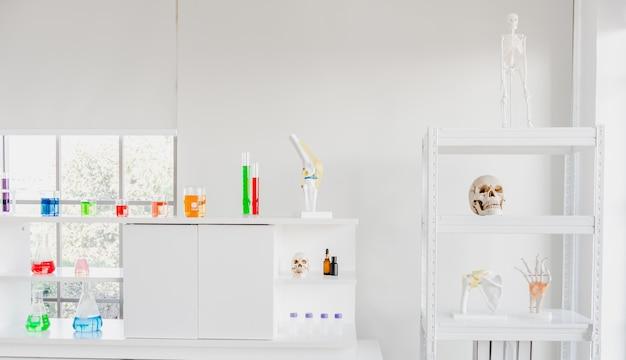 Cristalería y esqueleto en el laboratorio de ciencias.