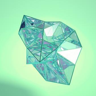 Cristales en movimiento abstracto render 3d