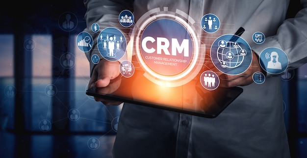Crm customer relationship management para el concepto de sistema de marketing de ventas comerciales
