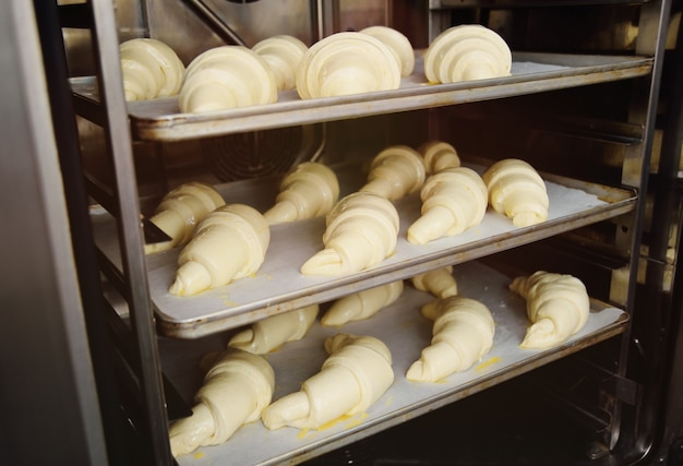 Croissants crudos preparados para hornear en primer plano en el horno