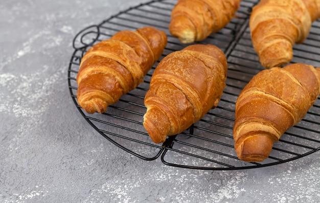 Croissants recién horneados en rejilla de enfriamiento, concepto de desayuno tradicional francés