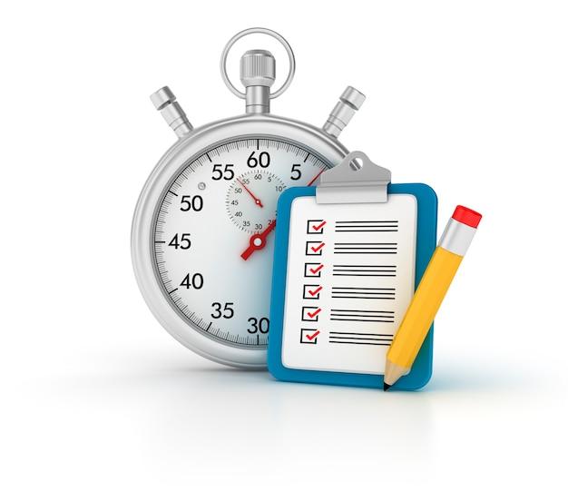 Cronómetro 3d con portapapeles de lista de verificación
