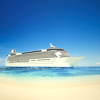Crucero 3d en una playa tropical